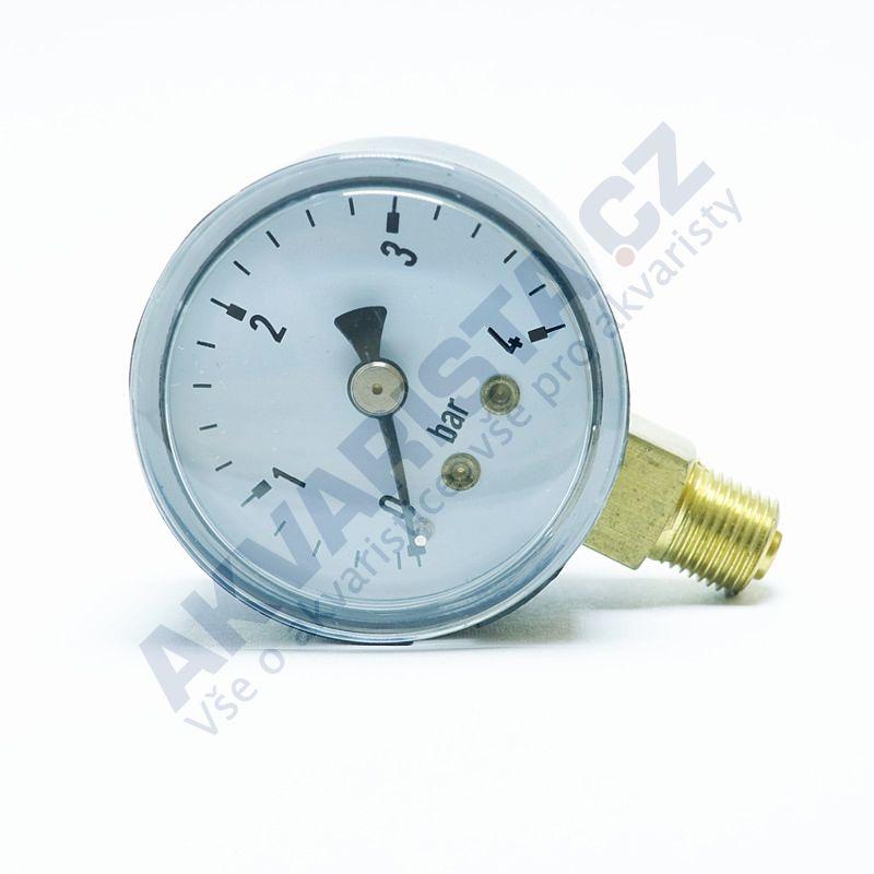 Camozzi Manometr 0-4 bar kovový 40 mm průměr spodní závit 1/8